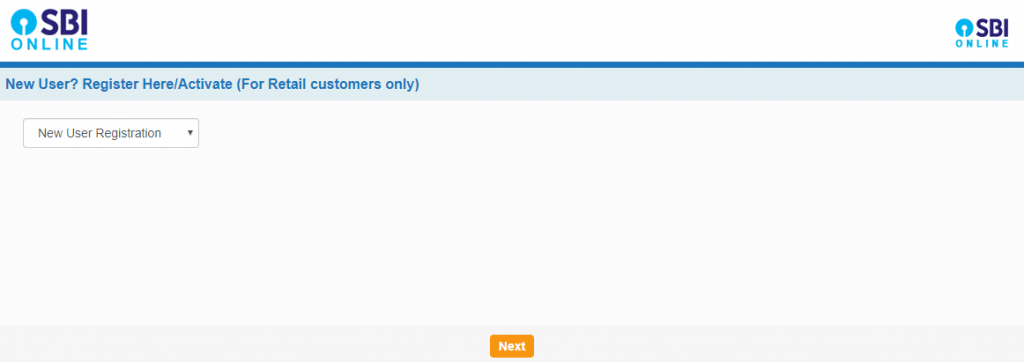 Go to the new user registration page on the SBI website
